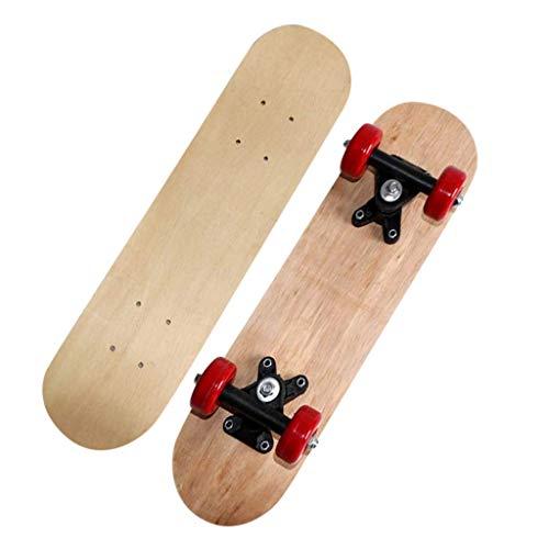 Skateboard Komplett Board Holzboard, 7-lagigem Ahornholz, Naturholzahorn Longboard für Anfänger Kinder Jugendliche und Erwachsene
