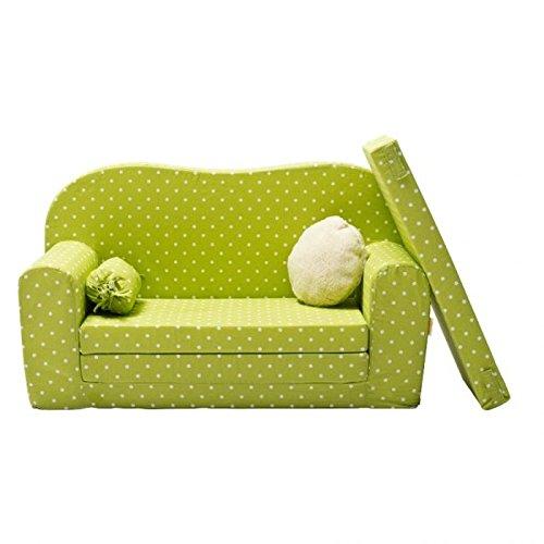 Gepetto Maxi Kindersofa grün mit Klappmatratze Plus extra Kissen I Sofa für das Kinderzimmer mit Liegefunktion als Gästebett
