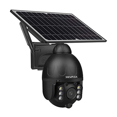 Solar Cámara de vigilancia Exterior 4G LTE, SHIWOJIA 100% Sin Cables Cámara Exterior Batería Recargable, Sensor de Movimiento PIR, Audio de 2 vías (no para LAN o WLAN).