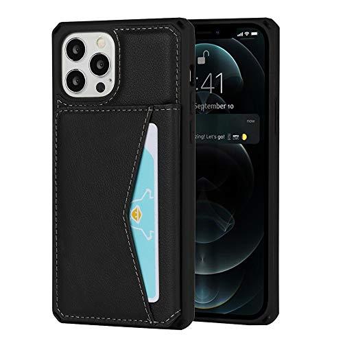 Happy-L Funda para iPhone 12 y iPhone 12 Pro, funda duradera a prueba de golpes, cuero de primera calidad horizontal, soporte magnético para teléfono iPhone 12/12 Pro de 6.1 pulgadas (color negro)