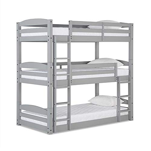 Dorel Living Sierra Triple Floor Wooden Bunk Bed in Gray - Set Up As Triple Bunk Bed/Bunk Bed/Daybed