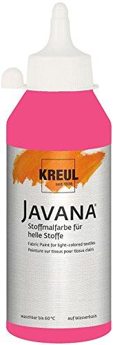 Kreul 91336 - Javana Stoffmalfarbe für helle Stoffe, brillante Farbe mit cremigem Charakter, 250 ml Flasche, pink