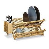 Relaxdays Escurreplatos de Cocina con Escurridor Cubiertos, Plegable, Bambú, 24 x 46 x 28 cm, Marrón