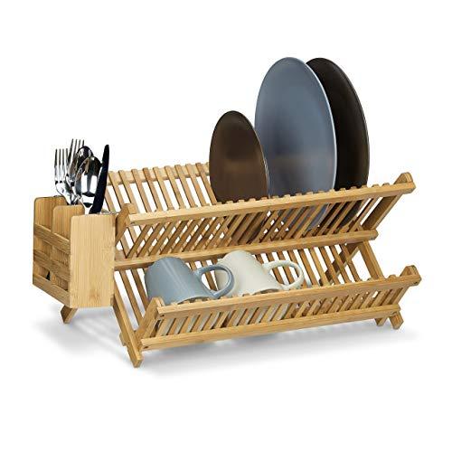 Relaxdays Korsfat med bestickkorg, total storlek: 24 x 46 x 28 cm bambu diskställ trä disktorkare vikbar för stora tallrikar och koppar med silverbehållare, naturbrun