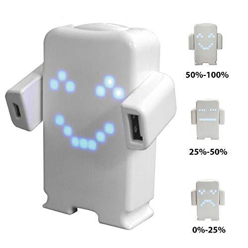 KawKaw Mr. Happy Powerbank mit lustiger LED- Gesichtsanzeige mit 5200 mAh Kapazität zum Aufladen...