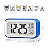 Digital Alarm Clock Large LCD Screen Smart Backlight Snooze Function Calendar Temperature Display