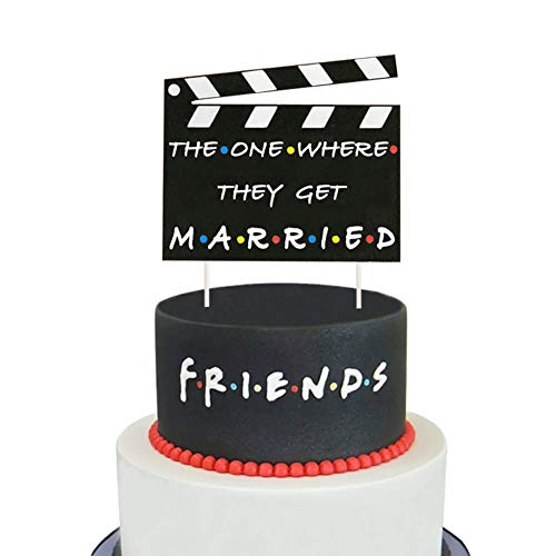 Friends TV Show Wedding Party Cake Decoration The One Where They Get Married Cake Topper for Friends Theme Mr and Mrs/Till Death Do Us Part/Just Married AF Party Supplies Decorations