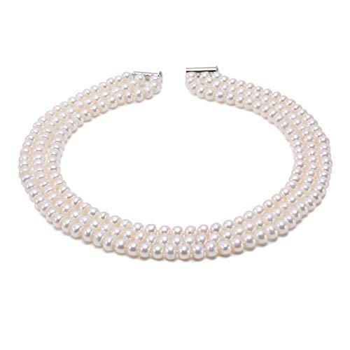 collana donna 3 fili Collana girocollo di perle coltivate d'acqua dolce genuina vicino a tre fili 6-7mm JYX