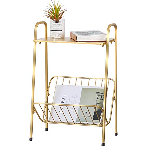 FUNME Ins Golden Storage Small Coffee Table End Table 2-Tier Metal Sofa Side Table for Living Room Bedroom