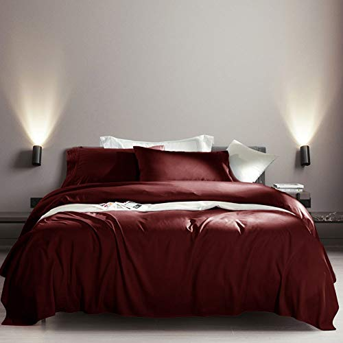 SONORO KATE Bed Sheet Set Super Soft Microfiber 1800 Thread Count Luxury Egyptian Sheets Fit 18 - 24 Inch Deep Pocket Mattress Wrinkle-6 Piece (Burgundy, Queen)
