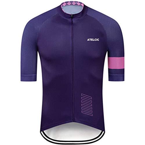 Atelcic - Tuta da ciclismo per mountain bike, spinning, ciclismo da strada, a maniche corte, estiva, per uomo e donna, colore: viola