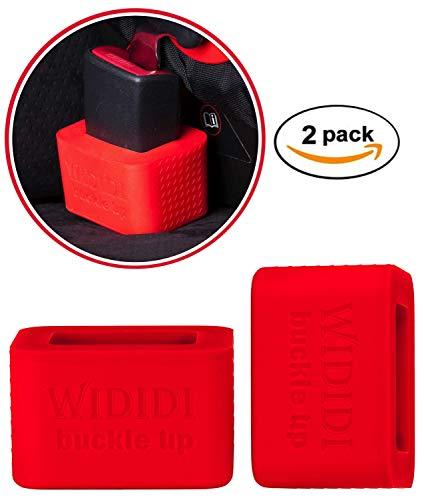 2 Stuck Autosicherheitsgurt-Halterung von Wididi Buckle Up- Weiches Silikon - Einfache Montage - Hält das Gurtschloss in einer aufrechten Position - Erleichtert das Anschnallen - Rot