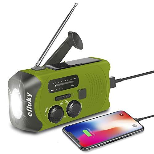 Efluky Solar Radio AM/FM Kurbelradio Tragbar USB Wiederaufladbar Notfallradio mit 2000mAh Power Bank, Led Taschenlampe, SOS Alarm und Handkurbel Dynamo für Camping, Survival, Reisen, Notfall (Grün)