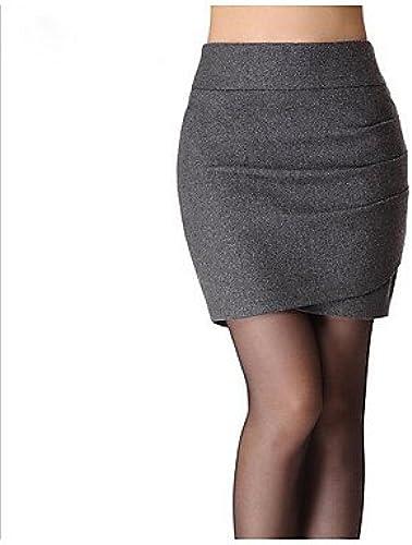 ZLL Femme Jupes,Moulante Couleur Pleine Plissé,Taille Normale simple Au dessus des genoux Décontracté   Quotidien Laine Elasticiténon , s