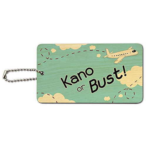 Kano or Bust - Flying Airplane Wood ID Tag Luggage Card Suitcase Carry-On