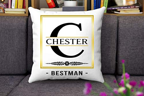 Valentine Gift Idea For Him, Husband And Father With Name Chester Best Man - Alphabet C Throw Pillow Case Decoration For Sofa Bed Chair Car 18 x 18 Inch