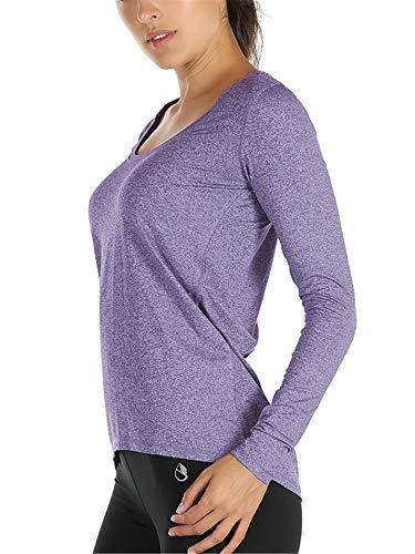 icyzone Damen Laufshirt Langarm Sport Shirt Funktionsshirt - Atmungsaktive Shirt Longsleeve Tops Fitness Workout Oberteil mit Daumenloch (L, Lavendel)
