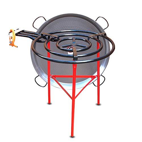 Vaello Campos Kit de restauration pour paella – Brûleur à gaz 70 cm, poêle en acier poli 90 cm et trépied renforcé