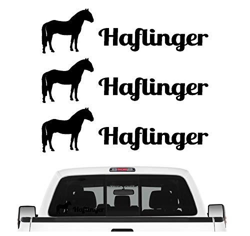 Siviwonder Haflinger Gebirgspferd Aufkleber 3er Set Pferdeaufkleber Pferd reiten Auto Folie Farbe Schwarz, Größe 20cm
