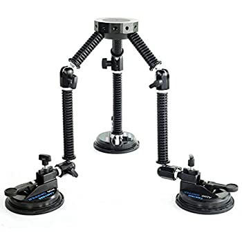 CAMTREE G-51 Professional Gripper Campod Car Mount Stabilizer - Black Triple Vacuum Suction Cup for DSLR Video Camera up to 20kg/44lbs | Free Safety Cable & Protective Bag
