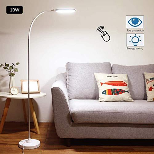 Lampaterra a LED dimmerabile con telecomando, lampaterra moderna 10 W per soggiorno, ufficio, lampalettura per camera letto, protezione per gli occhi, collo di cigno flessibile, 5 livelli di luminos