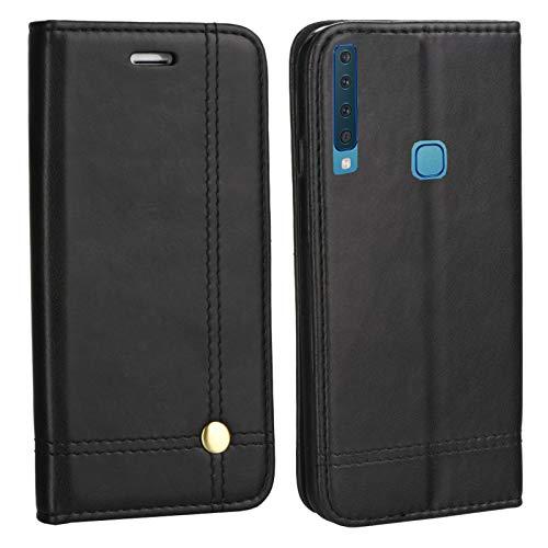 MOELECTRONIX Hülle passend für Samsung Galaxy A9 2018 DuoS SM-A920F/DS EDLE Tasche Buch Klapp Schutz Hülle Etui SCHWARZ