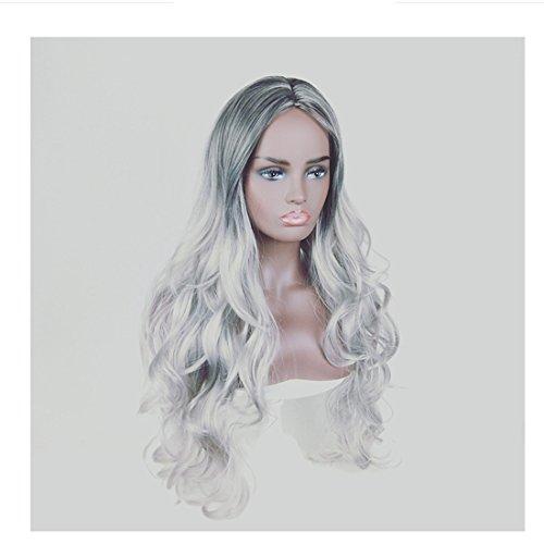 Pelucas de reemplazo de cabello 220g, Doll Black Cosplay Pelucas for mujeres Cabello humano con flequillo largo Pelucas Gradiente de color natural Pelucas rizadas largas for mujeres negras duradero, r