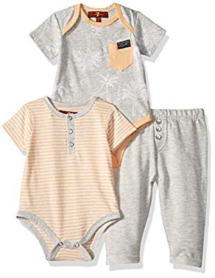 7 For All Mankind Baby Boys 3 Piece Bodysuit and French Terry Pant Set, Palm Print, 12M