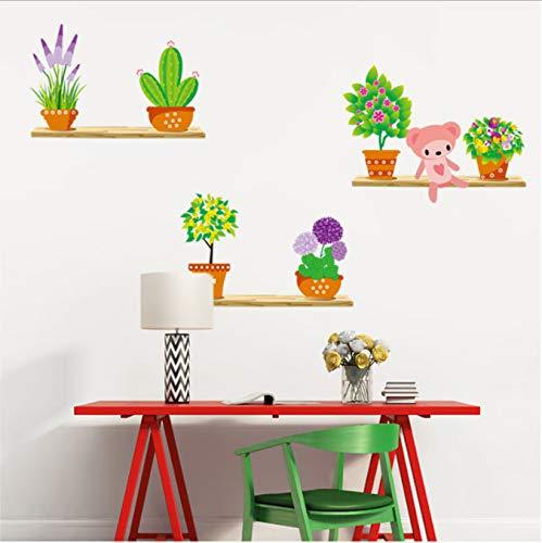 Hfwh muurstickers, planten in vaas, voor slaapkamer, woonkamer, wandsticker, zelfopstijgende wanddecoratie, 50 x 70 cm