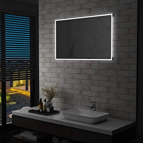 Miroir mural de salle de bain avec capteur tactile LED 100 x 60 cm