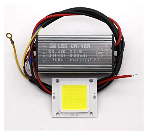 DIY LED Floodlight 10W 20W 30W 50W Real Watt Driver + COB LED Lamp for Spot Lights IP67 85-265V 110V 220V Light Bulb (Emitting Color : Warm White)