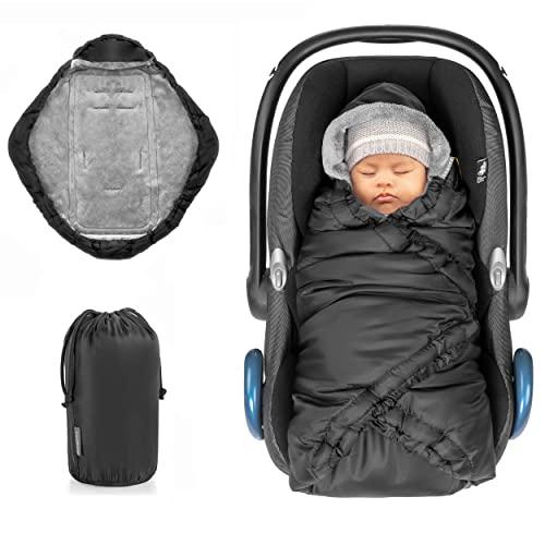 Zamboo Einschlagdecke für Babyschale und Babywanne - praktische Alternative zum Winter Fußsack, weiches und wattiertes Thermo Fleece - Schwarz (Basic)