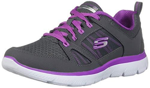 Skechers Women's Summits-New World Sneaker, Charcoal/Purple, 9 M US