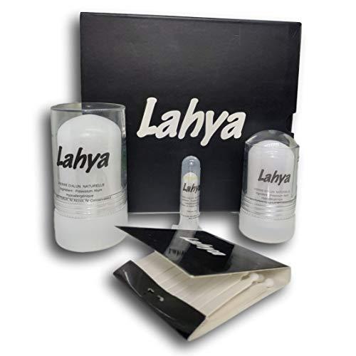 Lahya Coffret de Pierres d'Alun de 1 Stick 120 GR, 1 Stick 60 GR et 1 Stick 5 GR - Qualité Premium sans paraben - Déodorant 100% Naturel – Solution économique. Offert : Badges Anti coupures.