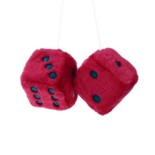 VOSAREA Car Mirror Decor Rearview Mirror Hanging Charm Red Fuzzy Dice Car Mirror Hanging Accessories for Car Home Ornament Decoration