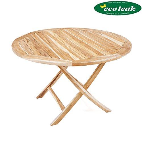 PLOSS ECO-TEAK® Tisch Lexington - RUND Ø 120 cm, KLAPPBAR
