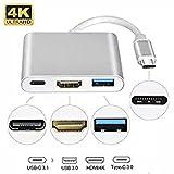USB Type C vers HDMI 4K 1080P, Multiport USB 3.1 vers HDMI/USB 3.0/USB-C Type C Hubs Convertisseur Chargeur pour...