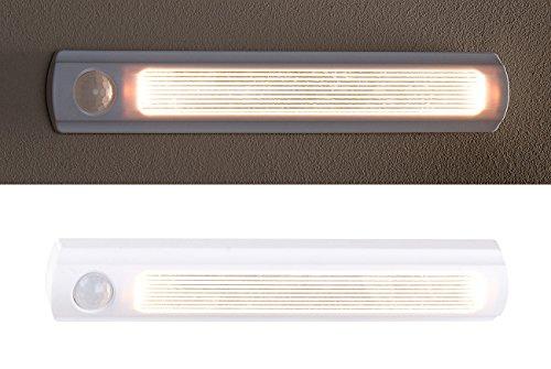 Luminea Schrankbeleuchtung: Batterie-LED-Schrankleuchte, PIR- & Lichtsensor, 0,6 W, 25 Lm, 6000 K (LED Schrankbeleuchtung)