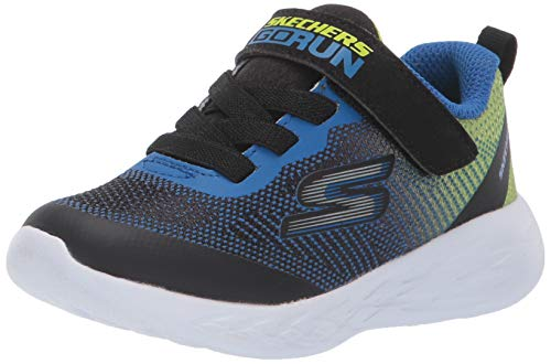 Skechers Go Run 600-Farrox, Zapatillas Niños, Multicolor (BBLM Black & Lime Textile/Blue Trim), 30 EU