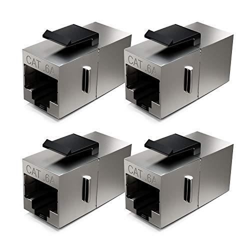 deleyCON 4X CAT6a Keystone Módulo Cable de Conexión Enganche Conector Blindado 2X Conector RJ45 Red Patch Panel Soporte de Keystone Extensión
