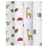 Mantas de muselina, 4 unidades, para mamá, 47 x 47 pulgadas, 100 % algodón, diseños únicos: sandía, jirafa, abeja, mono y niño