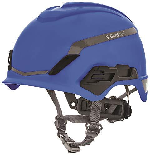 MSA V-Gard H1 Novent Schutzhelm Industrie Kletterhelm - Blau - 52–64 cm - Helm mit Kinnriemen für Arbeiten in der Höhe und Rettung - EN397 & ANSI