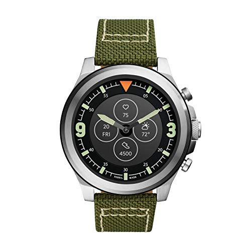 Fossil Latitude Hybrid HR Smartwatch para hombre con pantalla de lectura siempre activa, frecuencia cardíaca, seguimiento de actividad, notificaciones de teléfonos inteligentes, vista previa de mensajes, plateado (Silver/Olive)