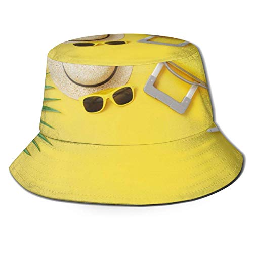 GOSMAO Unisex Flat Lay Yellow Maleta Fondo Bucket Hat Sombrero de Pescador Sombrero de Sol al Aire Libre