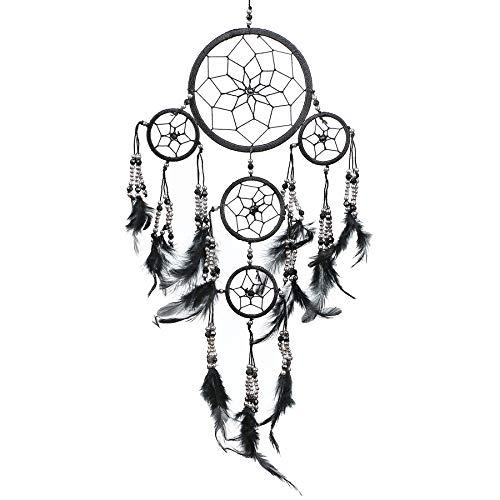 Pink Pineapple Dreamcatcher mit Federn und Silberperlen: Handgemachter Traumfänger Vielen Farben Erhältlich - Schwarz - Kleine Traumfänger Mit 12 cm Durchmesser und 35 cm Lang