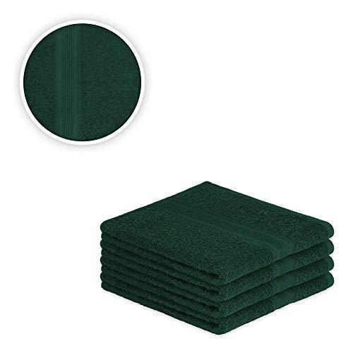 EXKLUSIV HEIMTEXTIL Handtuch Spar Set Baumwolle 500 g/m² Dunkelgrün 4 x Handtuch 50 x 100 cm