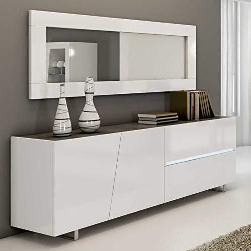 N-114 Enfilade Design laqué Blanc 200 cm LAUREA, 3 Portes - 1 tiroir