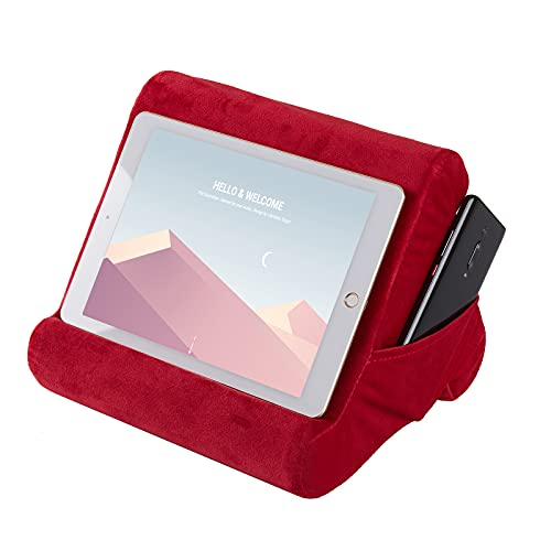 Drefure Pillow Tablet Stand,Pillow Soft Pad for Lap - Tablet Holder Dock for Bed with 3 Viewing Angles, Compatible with iPad, Tablets, e-Readers, Smartphones, Books, Magazines-Rose Red