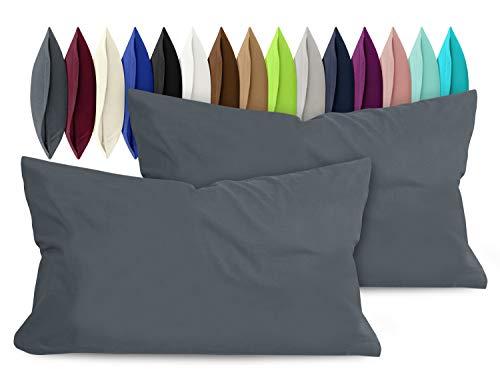 npluseins 2er Pack Baumwoll Kissenbezug - Jersey - viele Farben 1331.1812, ca. 40 x 60 cm, anthrazit