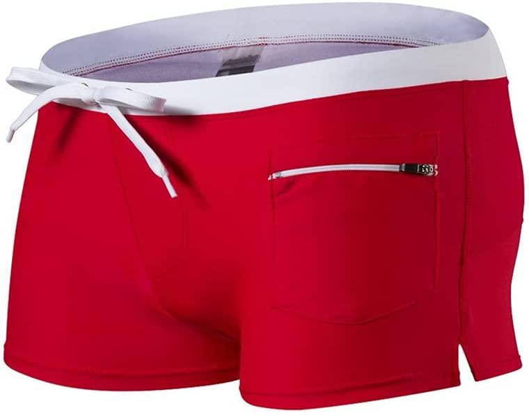 didi Swimming Trunks, Men's Beach Shorts Swimwear Sexy Bodybuilding Solid Color Pants Quick-Drying Sports Swimming Board Shorts Swimwear Men's Gym Training Shorts L Red